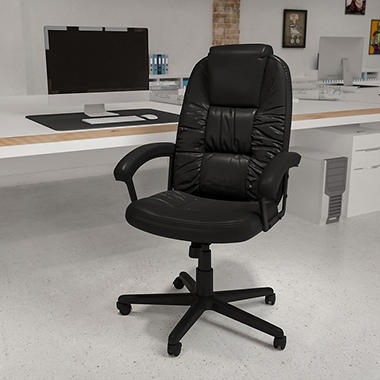 Black Leather High Back Office Chair  BT983BK