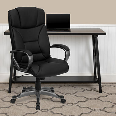Flash Furniture - Leather Executive Office Chair - Black