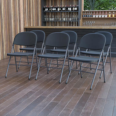 Plastic Folding Chairs - 6 Pack