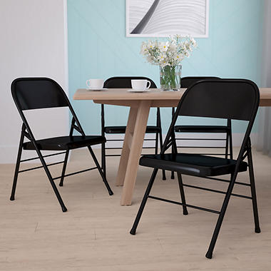 Hercules - Metal Folding Chairs, Black - 4 Pack