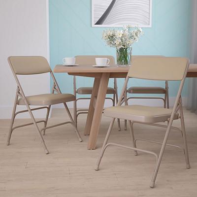 Hercules Vinyl Folding Chairs, Beige