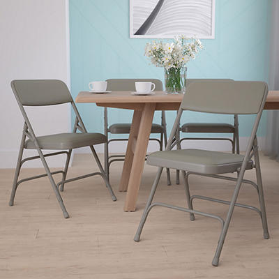 Hercules Vinyl Folding Chairs, Gray