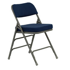 "Hercules 2 1/2"" Padded Metal Folding Chairs, Navy"
