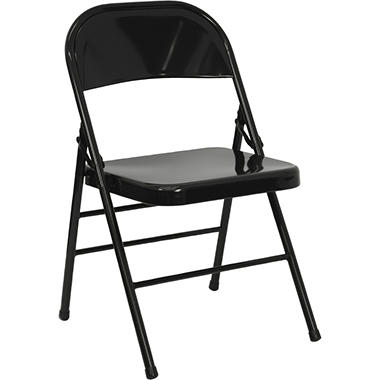 Hercules - Metal Folding Chairs, Black - 12 Pack