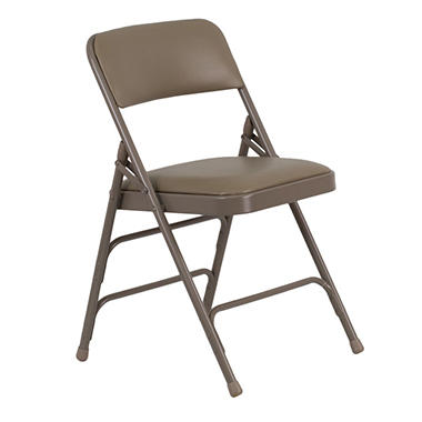 Hercules - Vinyl Folding Chairs, Beige - 12 Pack