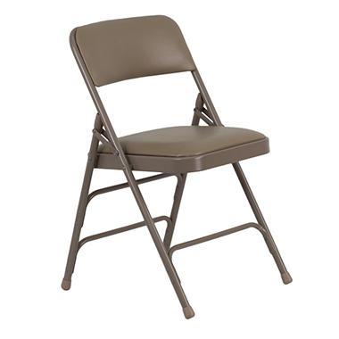 Hercules - Vinyl Folding Chairs, Beige - 12 Pack
