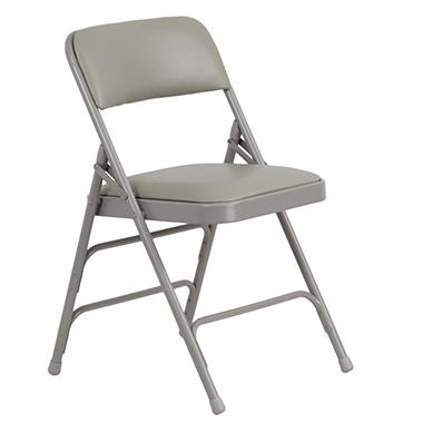 Hercules - Vinyl Folding Chairs - Gray - 12 Pack
