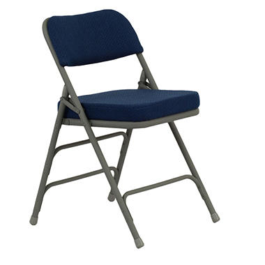 "OFFLINE Hercules 2 1/2"" Padded Metal Folding Chairs, Navy"