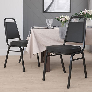 Vinyl Banquet Stack Chair with Black Frame, Black