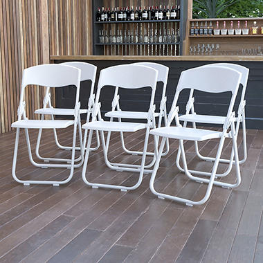 OFFLINE Hercules Heavy-Duty Plastic Folding Chair, White