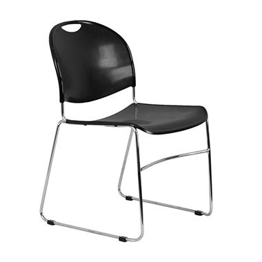 Flash Furniture - Stacking Chair with Chrome Frame, Black - 4 Pack