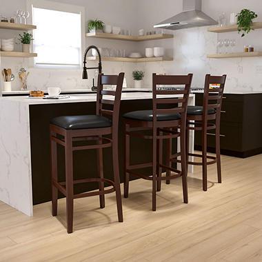 Hospitality Stool - Mahogany Wood - Ladder Back - Black Vinyl Upholstered Seat - 1 Pack