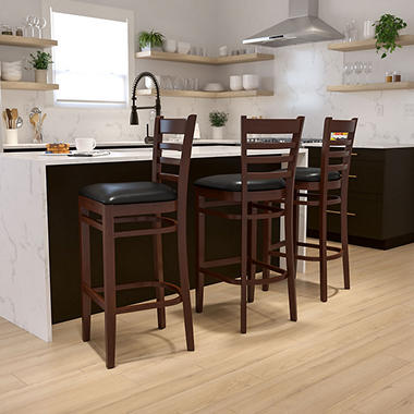 Hospitality Stool - Mahogany Wood - Ladder Back - Black Vinyl Upholstered Seat - 1 Pack
