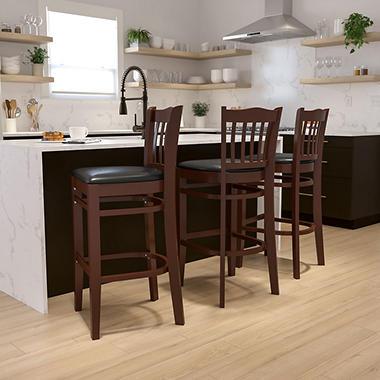 Hospitality Stool - Mahogany Wood - Vertical Slat Back - Black Vinyl Upholstered Seat - 1 Pack