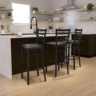 Hospitality Stool - Black Metal - Ladder Back - Black Vinyl Upholstered Seat - 1 Pack