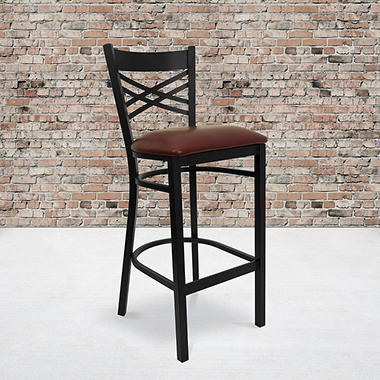 Hospitality Stool - Black Metal - X-Back - Burgundy Vinyl Upholstered Seat - 1 Pack