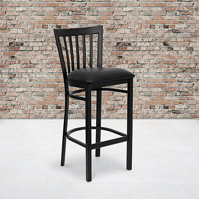 Hospitality Stool - Black Metal - School House Back - Black Vinyl Upholstered Seat - 1 Pack