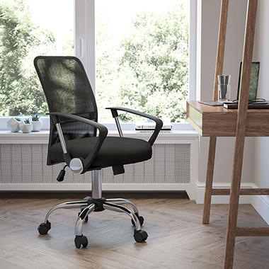 Flash Furniture - Mid-Back Black Mesh Computer Chair