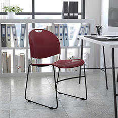 Hercules - Sled Base Stacking Chair - Burgundy
