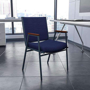 Hercules Fabric Padded Chair with Arms - Navy