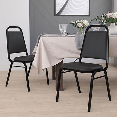 Hercules - Vinyl Banquet Chair, Black - 4 Pack