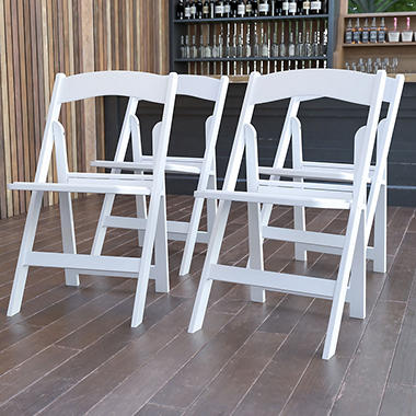 Hercules Resin Folding Chair, White