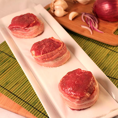 Steakhouse Certified Bacon Wrapped Beef Sirloin Filets - 5 oz. - 10 ct. case