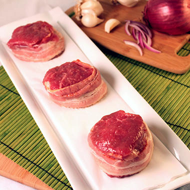 Steakhouse Certified Bacon Wrapped Beef Sirloin Filets - 5 oz. - 20 ct. case