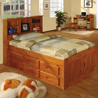 Twin Size Honey Finish Bookcase Bedroom Set