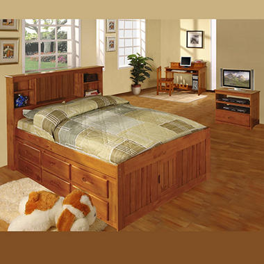Full Size Honey Finish Bookcase Bedroom Set