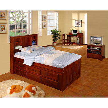 Twin Size Merlot Finish Bookcase Bedroom Set