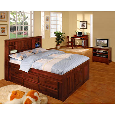 Full Size Merlot Finish Bookcase Bedroom Set