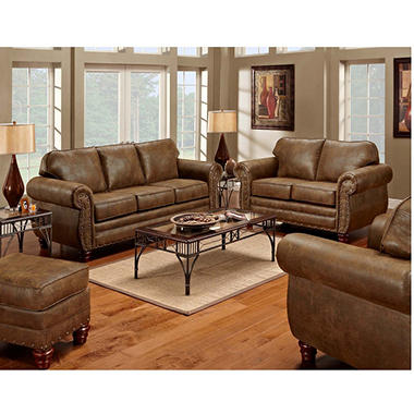 Sedona nailhead living room set 4 pc sam 39 s club for Black front room furniture
