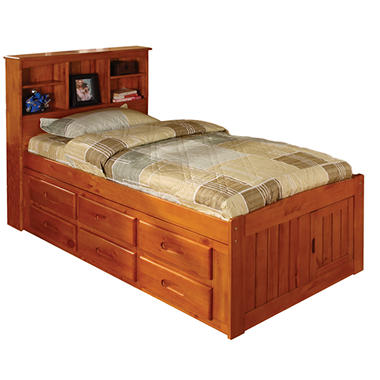 Bookcase Twin Bed - Honey FInish