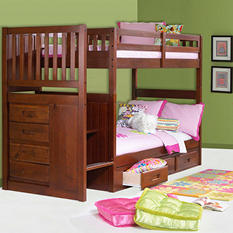 Staircase Bunk Bed - Merlot Finish