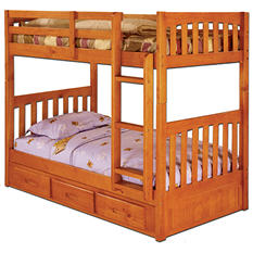 Twin/Twin Bunk Bed - Honey