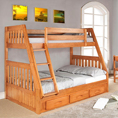 Twin/Full Bunk Bed - Honey
