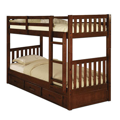 Twin/Twin Bunk Bed - Merlot
