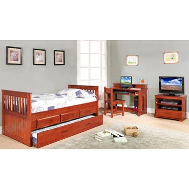 Twin Rake Bed Set - Merlot