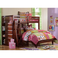 Loft Bed Twin Over Full with Five Drawer Chest, Merlot
