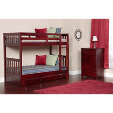 Twin/Twin Bunk Bed with 5 Drawer Chest (Various Colors)
