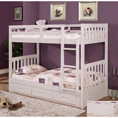Twin/Twin Bunk Bed - White