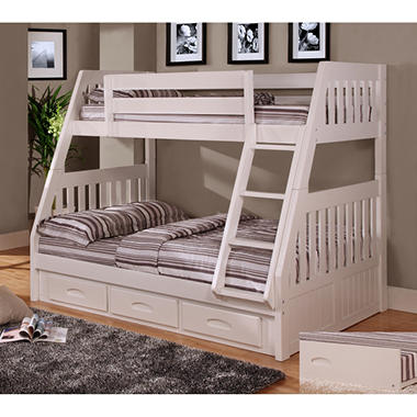 Sale Twin Full Bunk Bed White 0218 Tfw Best Price Furniture 2015