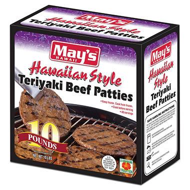 May's Hawaii Teriyaki Beef Patties (10 lbs., 40 ct.)