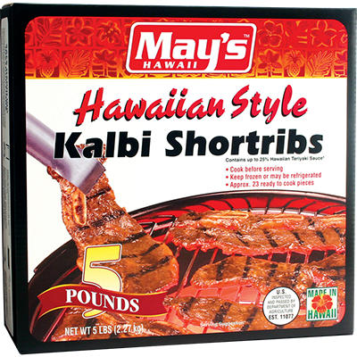 May's Hawaiian Style Kalbi Beef Short Ribs - 5 lbs.