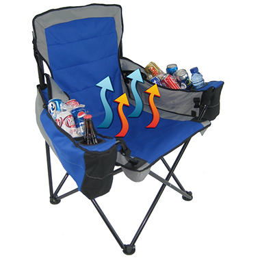 Polar Heat? Heated and Cooled Quad Chair with Two Arm Rest Coolers (Blue)