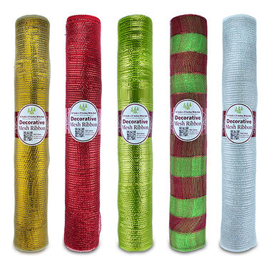 Holiday Decorative Mesh Ribbon - 10 yds. - Various Colors