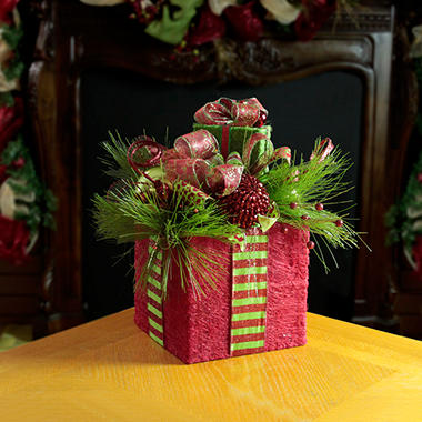 Holiday Tabletop Centerpiece - Red Stacked Present