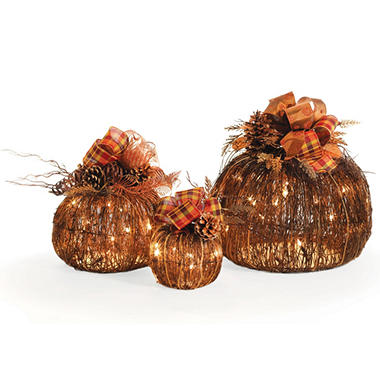 Set of 3 Pre-Lit Plug-In Decorative Pumpkins