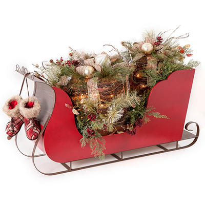 Holiday Winter Woodland Decorative Sleigh